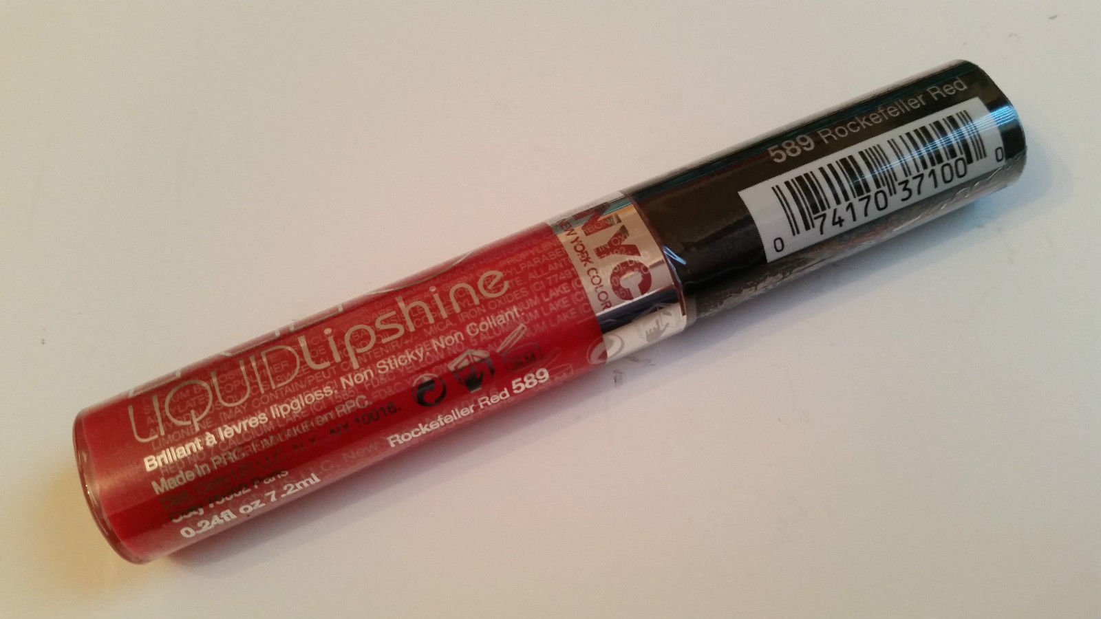 NYC LIQUID LIPSHINE LIP GLOSS 7.2ML - 589 ROCKEFELLER RED